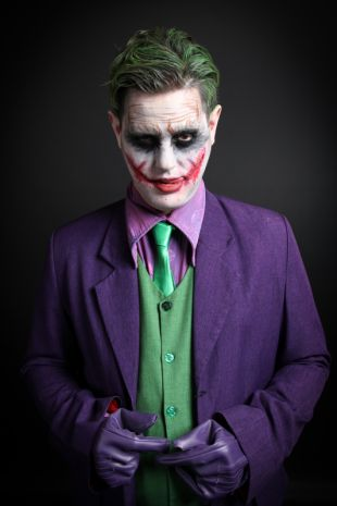 The Joker Costume, Heath Ledger from The Dark Knight - Hire at Little Shop of Horrors Costumery the best costume hire shop in Mornington Peninsula, Frankston and Melbourne