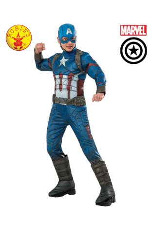 Captain America Avengers Costume available to buy with Afterpay, Paypal or Layby at Little Shop of Horrors Costumery - The best costume shop in Melbourne