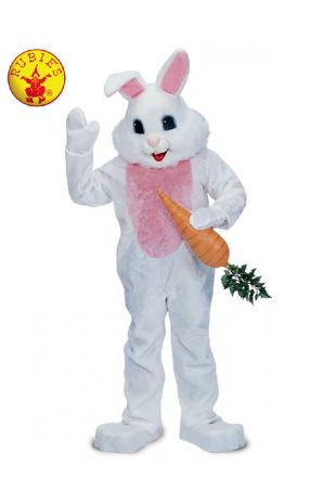 RABBIT PREMIUM MASCOT COSTUME WHITE, ADULT