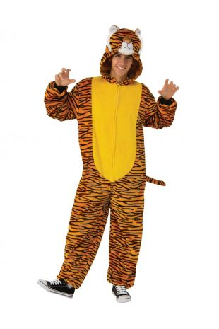TIGER FURRY ONESIE COSTUME, ADULT UNISEX