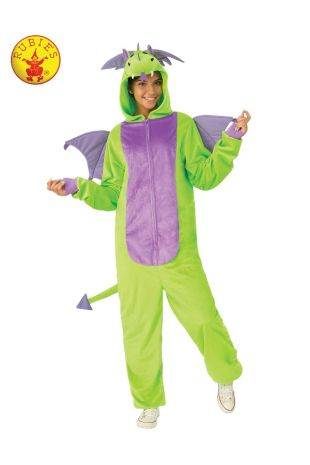 GREEN DRAGON FURRY ONESIE COSTUME, ADULT UNISEX