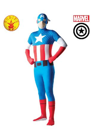 Captain America Second Skin Costume available to buy with Afterpay, Paypal or Layby at Little Shop of Horrors Costumery - The best costume shop in Melbourne