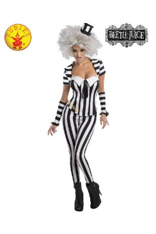 Beetlejuice Costume, Officially Licensed Tim Burton's Beetlejuice Costume - Buy Online with Afterpay, Paypal or Layby at Little Shop of Horrors Costumery - Costume Shop Melbourne