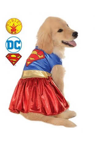 Supergirl Pet Costume, Justice League Officially Licensed DC Comics Costume - Buy Online with Afterpay, Paypal or Layby at Little Shop of Horrors Costumery - Costume Shop Melbourne
