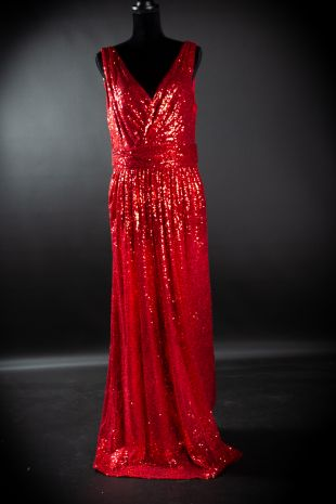 Stunning 1970s Disco Rose Gold Sequin Gown Costume Hire