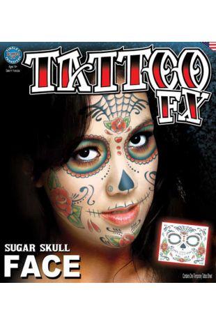 Face Tattoo: Sugar Skull Lady