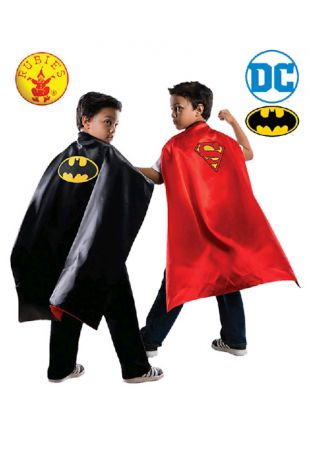 Batman / Superman Reversible Officially Licensed DC Comics Childs Cape- Buy Online with Afterpay, Paypal or Layby at Little Shop of Horrors Costumery - Costume Shop Melbourne