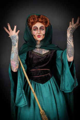 Our Winifred Sanderson from Disneys 1993 film Hocus Pocus is a fantastic high quality costume available to hire now for Halloween, Melbourne Comic-con, a Disney theme party or event at the best costume shop in Melbourne, Frankston Mornington,