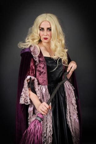 Our Sarah Sanderson is part of the Disney Hocus Pocus trio The Sanderson Sisters and is available to hire now at Little Shop of Horrors Costumery, the best costume shop located in Mornington in the South Eastern Suburbs, Frankston, Melbourne.