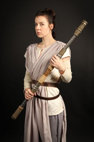 Rey is the kickass female Jedi from Disney Lucasfilms Star Wars Universe - Costume available to hire or custom order at Little Shop of Horrors Costumery - The best fancy dress costume hire shop in Mornington Frankston Melbourne Victoria