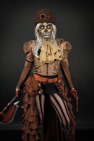 Madame Quartermaine - Steampunk Vampire Huntress Costume - Little Shop of Horrors Costumery - Costume Hire Shop - Mornington Frankston