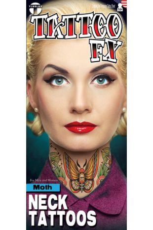 Neck Tattoo: Moth