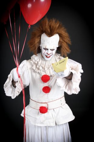 Pennywise IT Costume - Available to hire at Little Shop of Horrors Costumery, the best costume shop in Melbourne & Mornington!