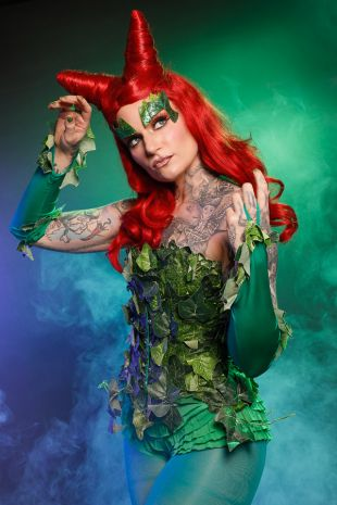 Poison Ivy costume from Tim Burton's Batman - Hire at Little Shop of Horrors Costumery the best costume hire shop in Mornington Peninsula, Frankston and Melbourne