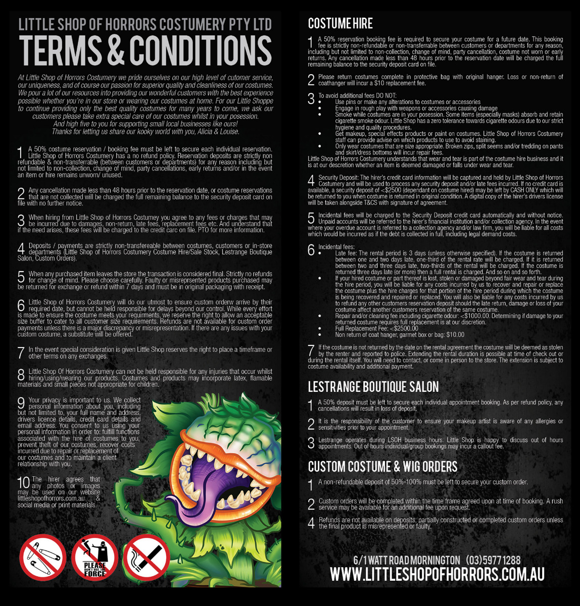 Little Shop of Horrors Terms & Conditions